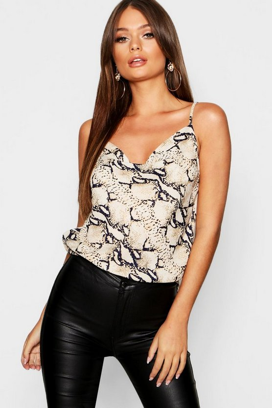 Snake Print Cowl Front Cami