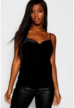 Womens Black Satin Cowl Front Woven Cami