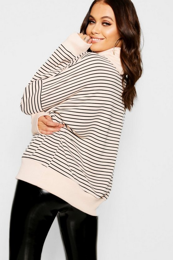 Funnel Neck Stripe Oversized Sweat