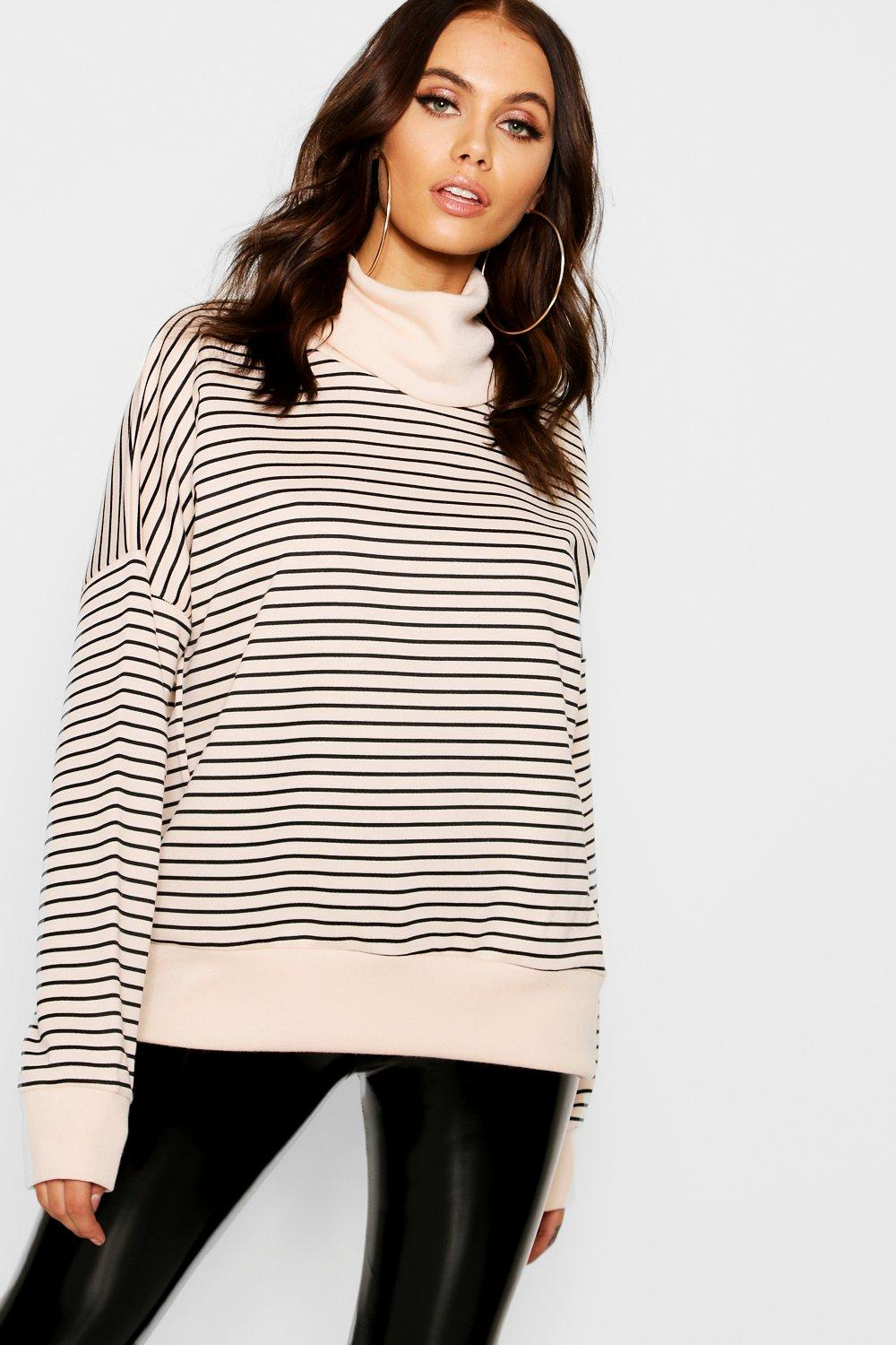 Funnel Stripe Sweat Oversized stone Neck xAx0qH