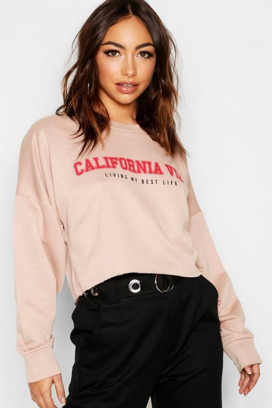 California Vibe Slogan Crop Sweat