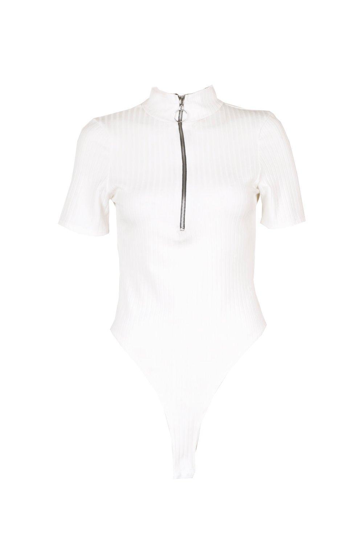 Ring white Short Detail Body Rib Sleeve xR8ZZgqSwF