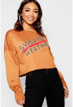 Womens Camel Balloon Sleeve Sweater Weather Slogan Crop Sweat