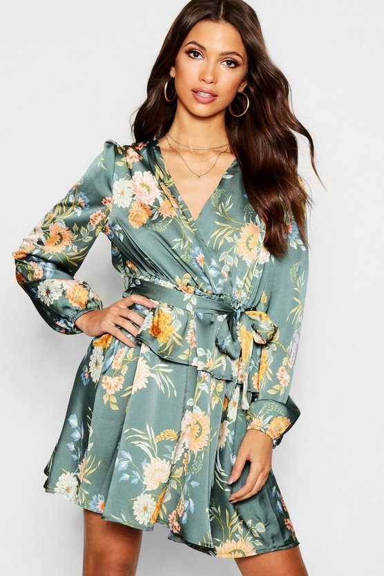 Floral Print Wrap Ruffle Skater Dress