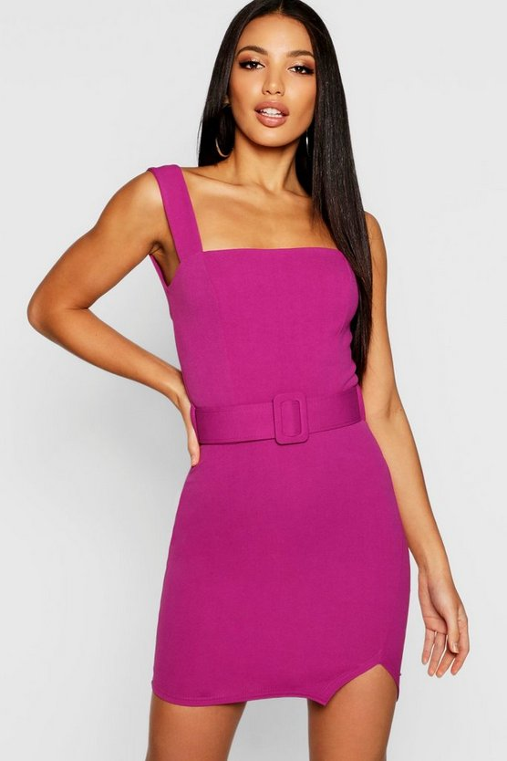Square Neck Belted Bodycon Dress