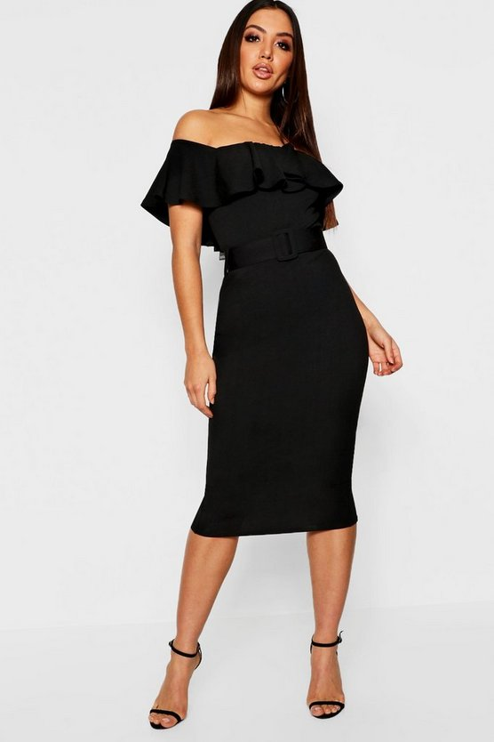 Off The Shoulder Belted Midi Dress