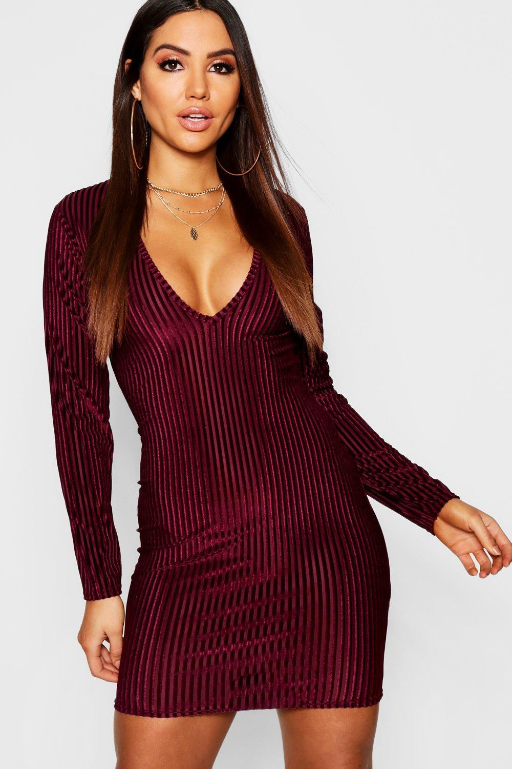3c6ea35e63f6e Velvet Long Sleeve Plunge Bodycon Dress | Boohoo
