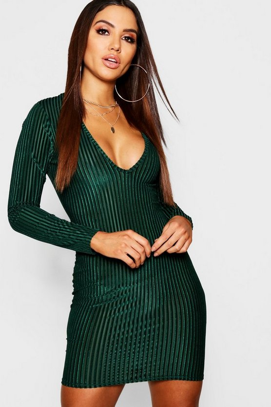 Velvet Long Sleeve Plunge Bodycon Dress