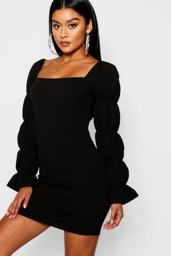 Womens Black Square Neck Shirred Sleeve Detail Bodycon Dress