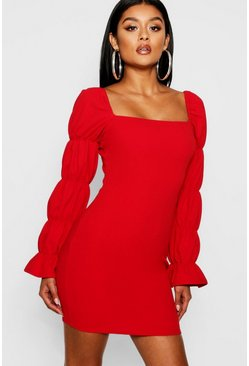Womens Red Square Neck Shirred Sleeve Detail Bodycon Dress