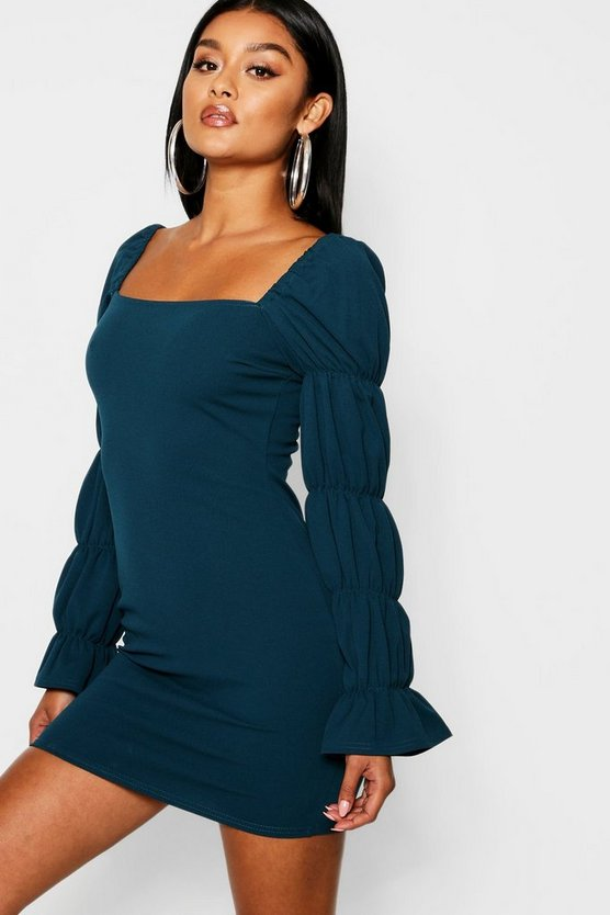 Square Neck Shirred Sleeve Detail Bodycon Dress