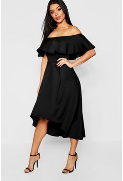 Black Off The Shoulder Dip Hem Skater Bridesmaid Dress