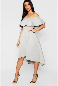 Womens Grey Off The Shoulder Dip Hem Skater Dress