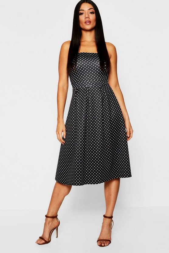 Womens Black Polka Dot Bandeau Midi Skater Dress