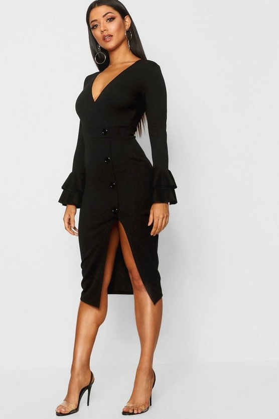Womens Black Flared Sleeve Button Detail Midi Dress