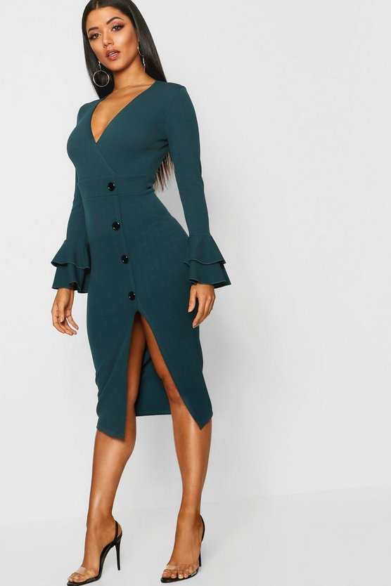 Flared Sleeve Button Detail Midi Dress