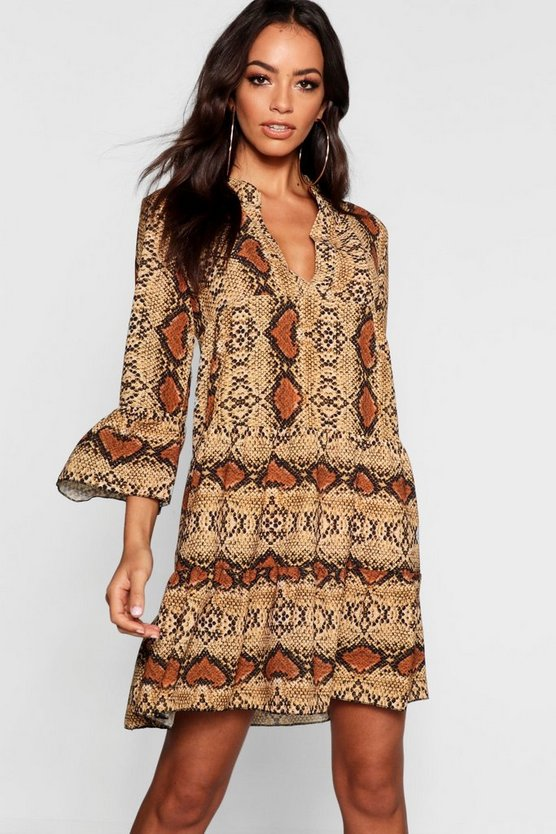 Womens Brown Snake Ruffle Shift Dress