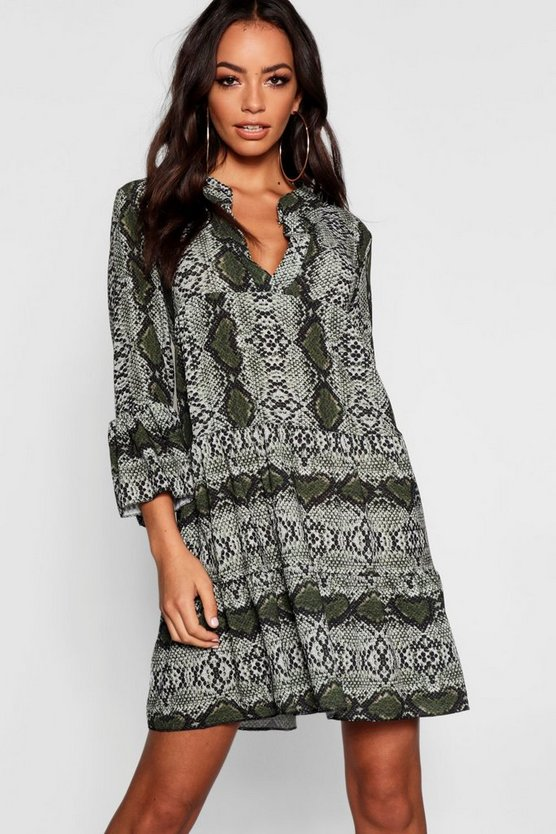 Snake Ruffle Shift Dress