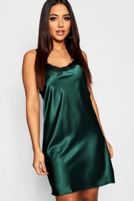 Satin and Lace Trim Slip Dress