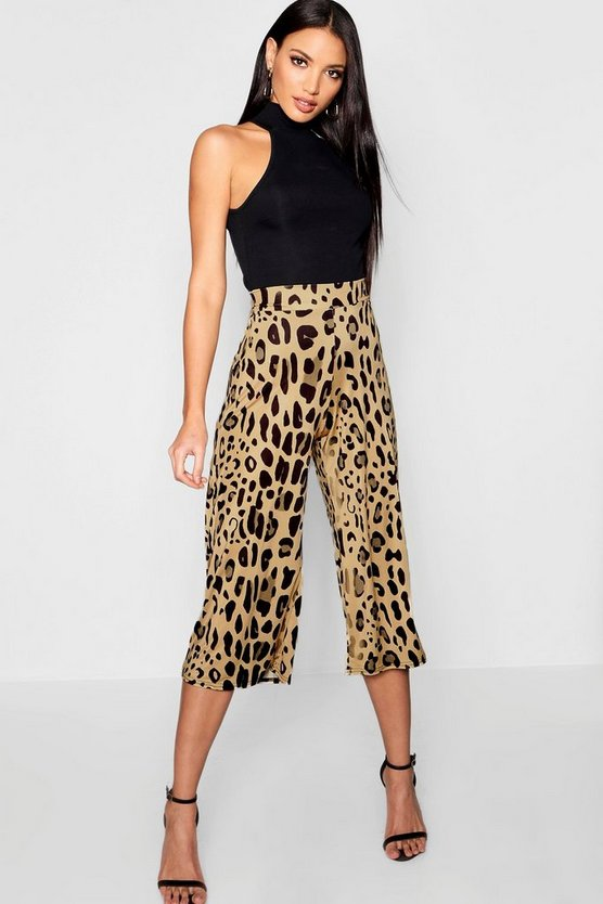 Womens Brown Leopard Print Slinky Culottes