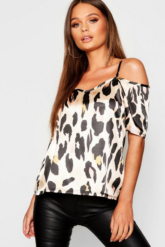 Leopard Print Cold Shoulder Cami