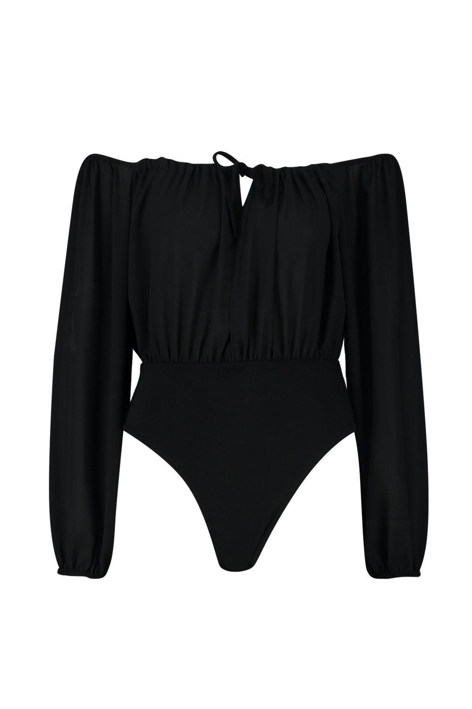 Sleeve Puff Bodysuit Woven Sleeve Sleeve Woven black Puff Puff Bodysuit black black Bodysuit Woven n55ExTfqr