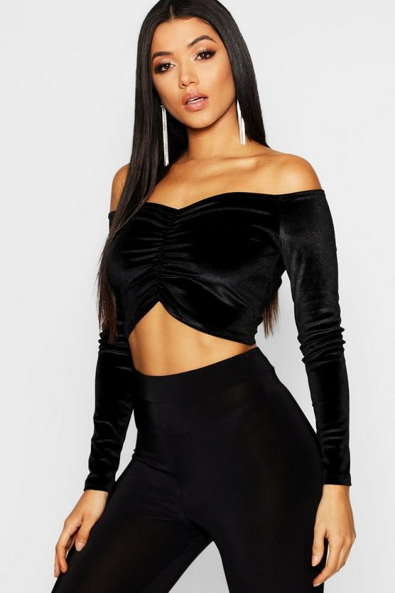 Velvet Ruched Off The Shoulder Crop
