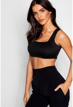 Womens Black Basic Scuba Square Neck Bralet