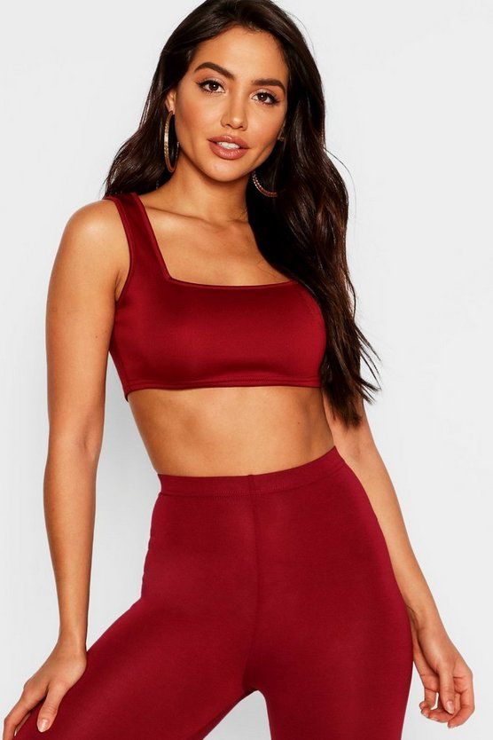 Womens Wine Basic Scuba Square Neck Bralet