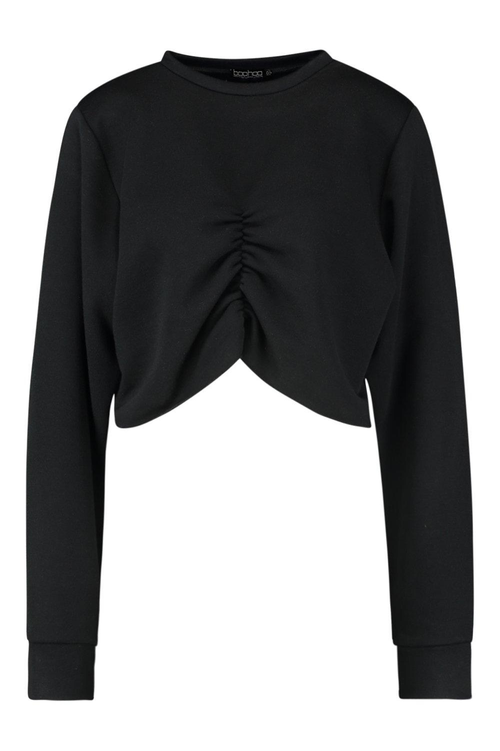 Ruched Front black Sweat Crop Crop Sweat Ruched Front rWwqnrSTH