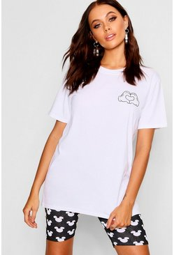 Womens White Disney Mickey Hands Pocket Placement T-Shirt