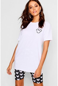 Womens White Disney Pocket Placement Mickey T-Shirt