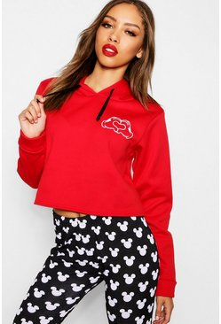 Womens Red Disney Mickey Hands Print Cropped Hoody