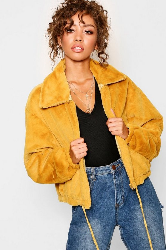Womens Mustard Super Soft Faux Fur Collared Jacket