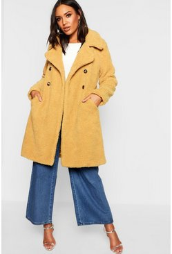 Womens Mustard Double Breasted Teddy Faux Fur Coat