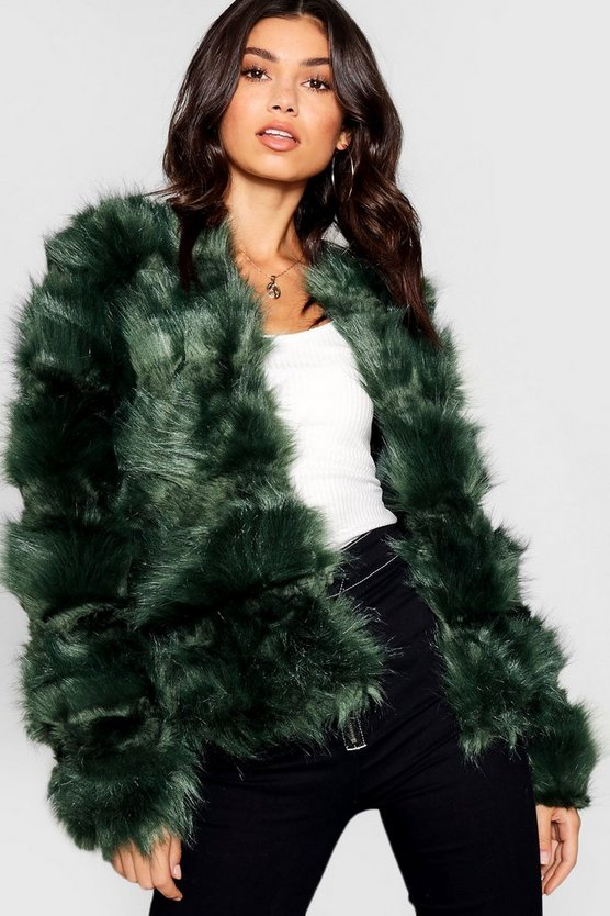 Womens Green Boutique Panelled Faux Fur Coat