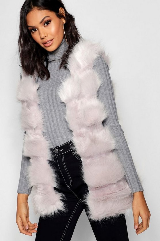 Womens Light grey Boutique Faux Fur Panelled Gilet