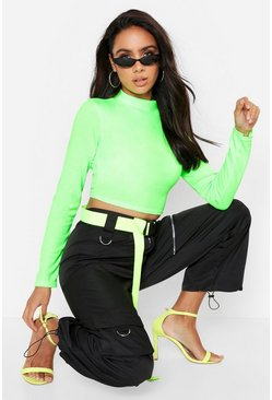 Lime High Neck Long Sleeve Rib Top
