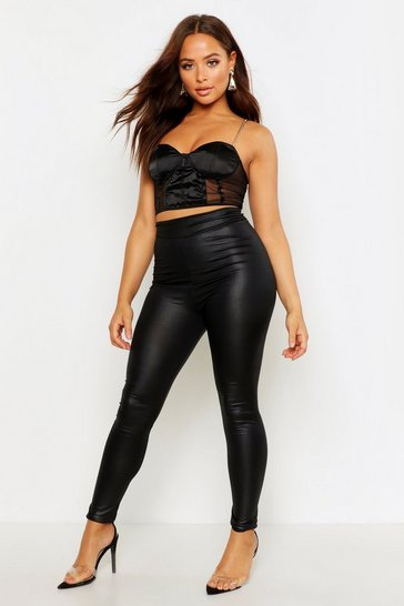 Womens Black High Waist Wet Look Leggings