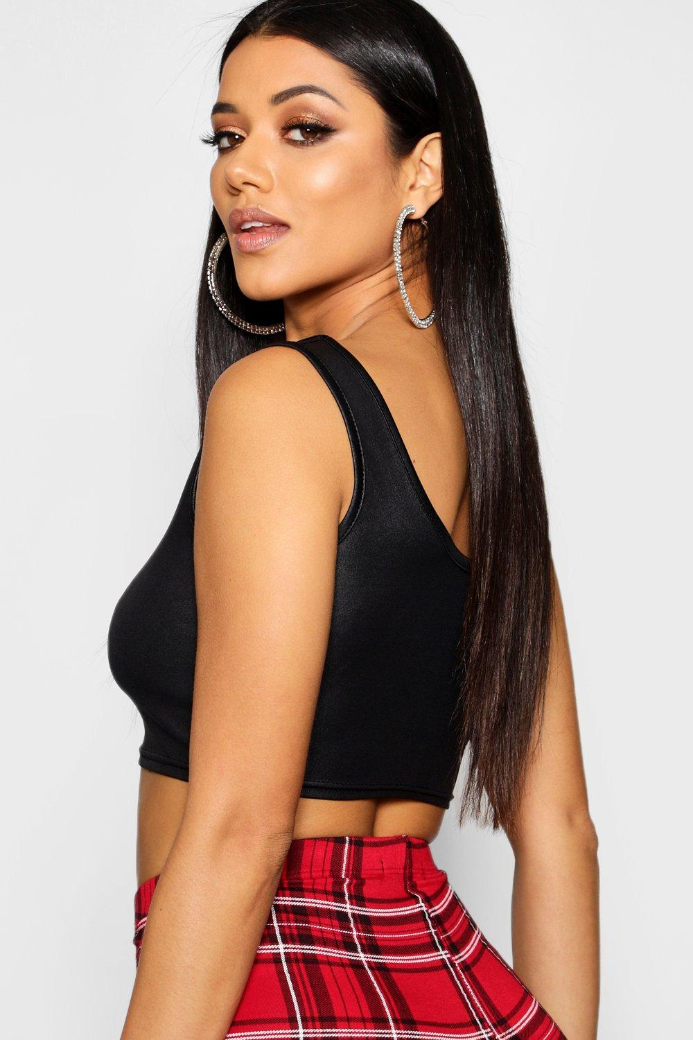 Crop Wet black Top Neck Square Look xxr6wYqtnF