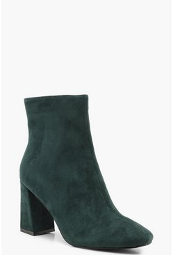 Womens Green Block Heel Square Toe Shoe Boots