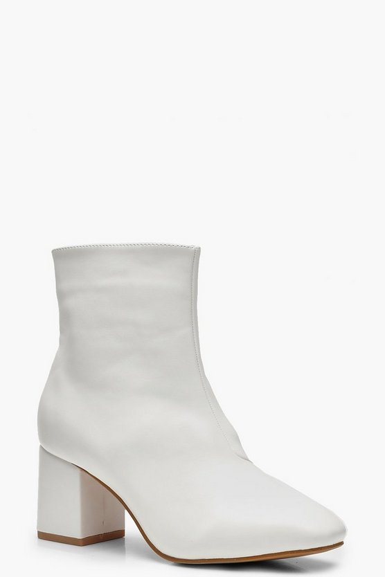 Womens White Block Heel Shoe Boots