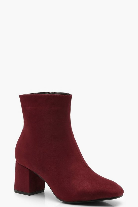 Berry Block Heel Shoe Boots