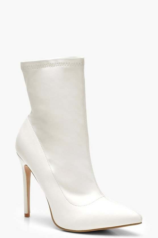 White Pointed Toe Stiletto Sock Boots