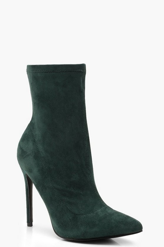 Womens Green Pointed Toe Stiletto Sock Boots