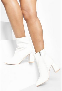 Womens White Croc Block Heel Shoe Boots