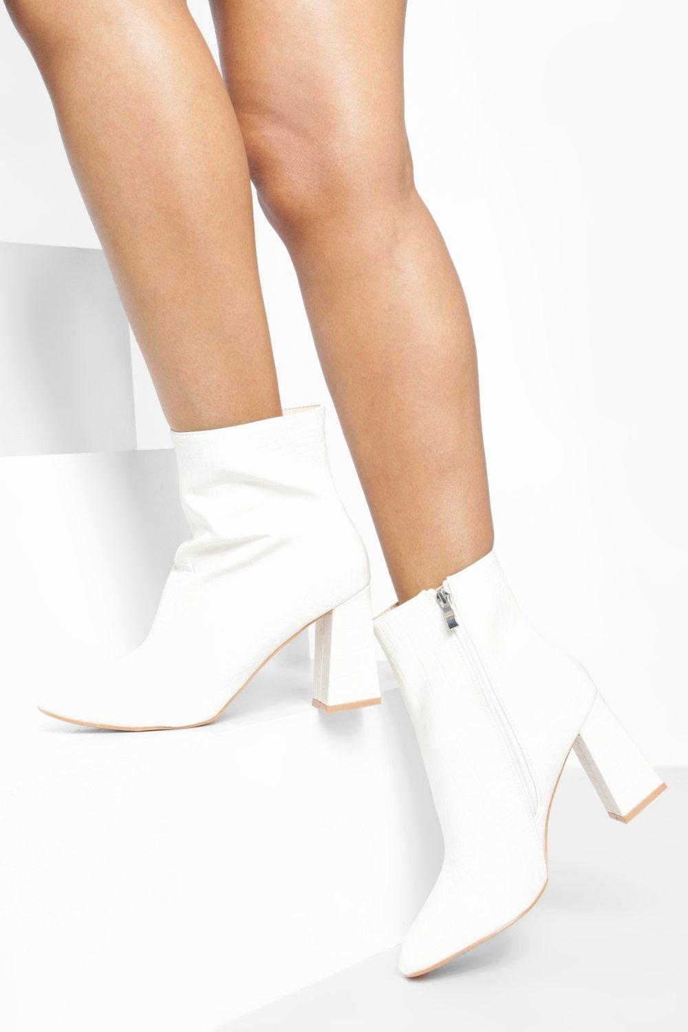 timeless design d0777 757a0 White Croc Block Heel Shoe Boots | Boohoo