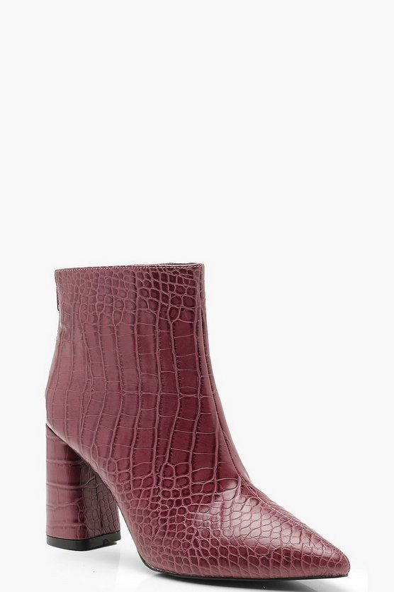 Croc Pointed Block Heel Shoe Boots