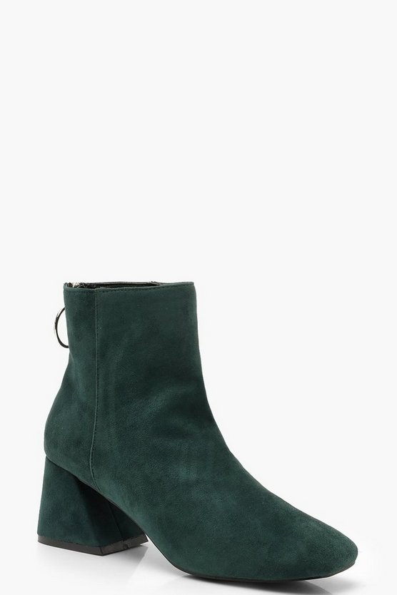 Womens Green Low Block Heel Shoe Boots