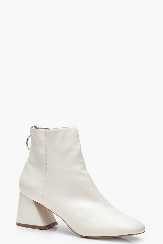 Womens White Low Block Heel Shoe Boots